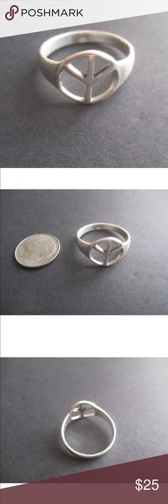Peace Sign Ring Sterling Silver for @jrhigh Peace sign ring Sterling silver for @jrhigh. The smallest size available was 5.5. Jewelry Rings