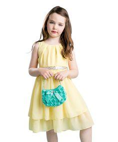 Yellow Chiffon Layered Dress - Toddler & Girls
