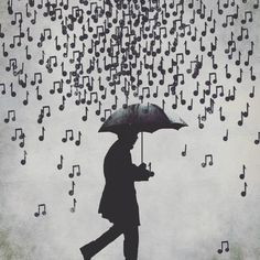 Music notes in the rain. I love to hear what tune it plays when it hits the umbrella. Umbrella, Music Notes, Art Music, Painting, Singing In The Rain, Art, Pictures, Street Art, Musical Art