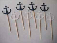 "Sailing Boat Anchor Blue and White Birthday Wedding Party Cute Baking Cupcakes Toppers 24 Pcs, Party picks, Toothpicks, Celebration 3"". $3.99, via Etsy."