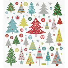 Tattoo King SK129MC-1272 Multicolored Sticker, Glitter Christmas Trees -- Click on the image for additional details. (This is an affiliate link) #ArtsCrafts