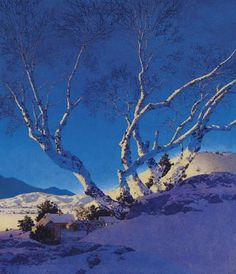 'White Birches: Winter' 1951 by Maxfield Parrish | Flickr - Photo Sharing!