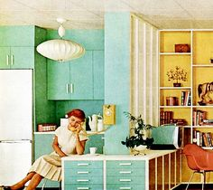Mint green steel cabinetry and a bubble lamp saucer pendant, 1958