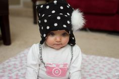 Baby It's Cold Outside...& baby Ali needs a warm hat! I scored some cute discount fleece from the remnants section at Hobby Lobby. It was enough to make two little fleece hats. After a Pinter...