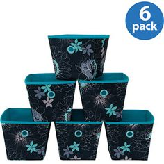 Mainstays Mini Bins, Floral Print with Teal Grommets, Set of 6