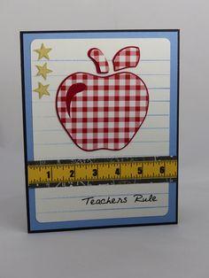 Handmade Greeting Card:  Teacher Appreciation, Teacher Thank You Card, Teacher Gift, Gift for Teacher, Teachers Rule, Tutor, Back to School