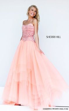 dress sherri hill peach pink prom dress prom dress