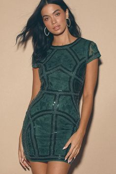 Sexy Emerald Sequin Dress - Embroidered Dress - Party Dress - Lulus
