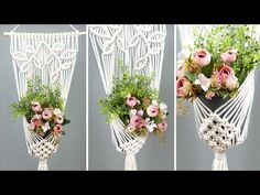 Macrame is a form of textile-making using knotting rather than weaving or knitting. Wall Plant Hanger, Pot Hanger, Leaf Flowers, Flower Pots, Free Macrame Patterns, Macrame Wall Hanging Diy, Knitted Flowers, Macrame Projects, Plants