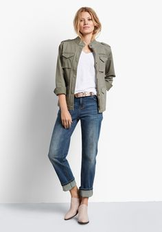 Our Agnes Jeans have been designed with turn up hems, which can be adjusted to suit your preferred length. Pair with our Military Jacket and Orford Boots for a fresh spring look. Casual Night Out, Clothing Sites, Color Khaki, Spring Looks, Hush Hush, Utility Jacket, Blue Denim, Jeans, Military Jacket
