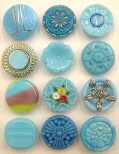 12 Vintage Turquoise Glass Buttons, Enamel Paint, Striped, Tudor Rose, Carved. | eBay