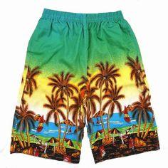 Mens ocasional árbol de palma de coco impreso cortocircuitos de la playa de secado rápido sueltos 4 colores