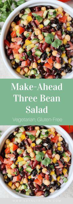 Make-Ahead Three Bean Salad beansalad mealprep lunch healthy recipes glutenfree vegetarian plantbased 132504414020856973 Bean Salad Recipes, Healthy Salad Recipes, Bean Salad Vegan, Recipes With Beans Healthy, Vegetarian Bean Recipes, Healthy Bean Salads, Healthy Salads For Dinner, Healthy Vegetarian Dinner Recipes, Healthy Supper Ideas