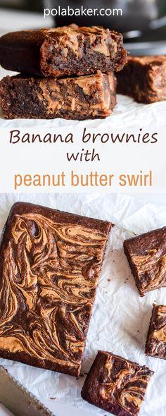 Banana brownie with peanut butter swirl - polabaker.com  #brownie #vegan #peanutbutter #banana #ripe #recipe #eggfree #dairyfree #dessert #baking #polabaker #chocolate