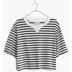 MADEWELL Sun-Up Tee in Stripe ($20) ❤ liked on Polyvore featuring tops, t-shirts, pure white, boxy tee, white crop tee, striped t shirt, white t shirts ve striped crop top