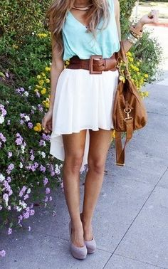 Love the aqua top and the high-low skirt!
