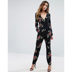 Missguided Wrap Printed Floral Jumpsuit ($53) ❤ liked on Polyvore featuring jumpsuits, black, floral jumpsuit, jump suit, tall jumpsuit, wrap jumpsuit and floral print jumpsuit