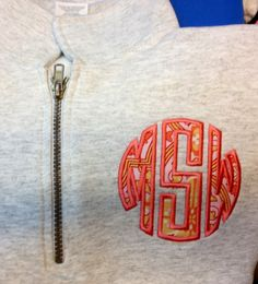 Quarter zip applique monogram Sweatshirt pullover by Elizabs