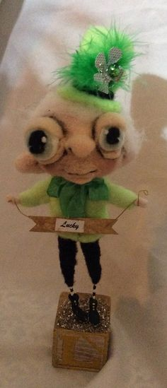 The Leprechaun Ooak needle felted art doll for by papermoongallery