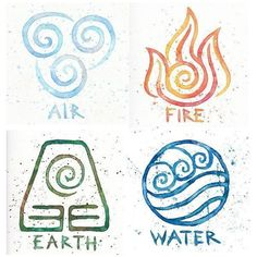 Water Earth Air Fire // Avatar Symbols // 9x9 Prints // Fo ❤ liked on Polyvore featuring home, home decor, wall art, watercolour painting, water painting, water color painting, watercolor wall art and watercolor painting