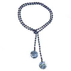 SODALITE AND BLUE GOLDSTONE SCARF NECKLACE    Sodalite and blue goldstone necklace.    Particularly works well with denim and blue garments.  ...  Colour: Blue/Dark Blue    Size: 111cm    £47.50     http://www.gemjewelleryshop.com/product-information/36/398/sodalite-and-blue-goldstone-scarf-necklace/See More