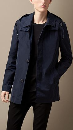 Ink Technical Fabric Jacket with Removable Hood - Image 1