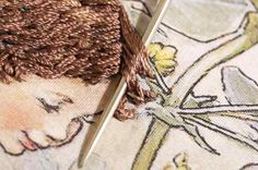 Amazing embroidered  hair. 2 strands silk thread