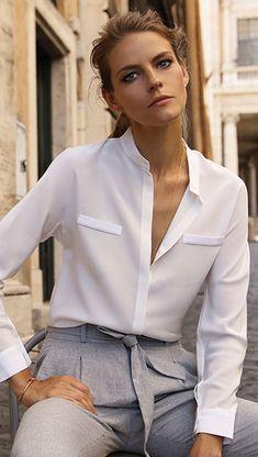 Nadire Atas on the Classic White Shirt An essential silk shirt, made with subtle yet striking details. Work Fashion, Modest Fashion, Fashion Outfits, Womens Fashion, College Fashion, Curvy Fashion, Skirt Fashion, Daily Fashion, Fashion News