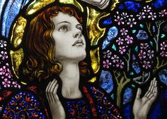 Detail from the window for St. Cecilia, Patron Saint of Music, designed by Karl Parsons