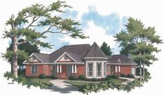New American House Plan with 2282 Square Feet and 4 Bedrooms from Dream Home Source | House Plan Code DHSW52463  Love the shape of the dining room.