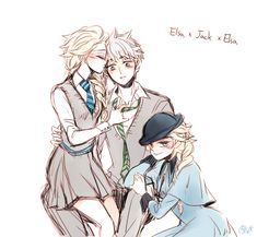 Hogwarts AU : Jackson X Elsa X Jack & Elsa X Jack X Elsa I love these relationships so much ◑v◑;