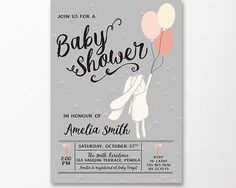 Rabbit Baby Shower Invitation Printable Grey Gray Peach Cream Gender Neutral Print Yourself Bunny Silver Pink Script Modern Balloons by WestminsterPaperCo on Etsy