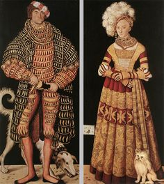 CRANACH, Lucas the Elder [German Northern Renaissance Painter, 1472-1553] Portraits of Henry the Pious, Duke of Saxony and his wife Katharina von Mecklenburg1514Oil on canvas transferred from wood, 184 x 82,5 cm eachGemäldegalerie, Dresden