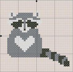 Raccoon Cross Stitch Pattern