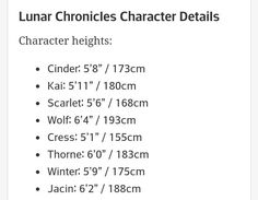 "I don't think this is canon, but really helpful nonetheless.  I think some of the boys would be taller though.  I vote Wolf is 6'7"", and Thorne is 6'3""  and Jacin is 6""4"