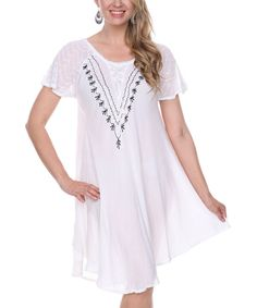 Look at this Ananda's Collection White Embroidered Lace-Front Shift Dress on #zulily today!