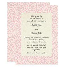Modern ivory blush pink animal print Wedding Card - wedding invitations diy cyo special idea personalize card