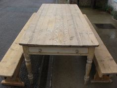 antique pine table and benches