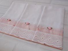 Fraldas Decoradas. Kit com 3 Fraldas de Boca. Tecido 100% algodão. Renda 100%…