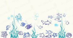 Under the sea, Fish Wall Decals Nursery Children's Kids Room Bathroom Removable Vinyl Wall Art Stickers Home Decor murals