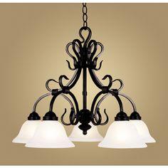 Westmore Lighting 5-Light Buckingham Matte Black Chandelier