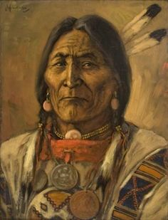 "Blackfoot Chief - Crowfoot painting by James Henderson, 1924. Crowfoot (c. 1821–1830 – 25 April 1890) or Isapo-Muxika (Blackfoot Issapóómahksika, ""Crow-big-foot"" was a chief of the Siksika First Nation. His parents, Istowun-eh'pata (Packs a Knife) and Axkahp-say-pi (Attacked Towards Home), were Kainai. His brother Iron Shield became Chief Bull."