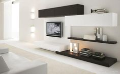 Mueble de TV moderno/contemporaneo en blanco y negro
