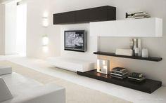 Mueble de TV moderno/contemporaneo en blanco y negro