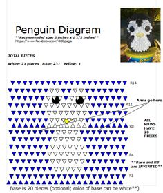 Penguin Diagram One of my favorites. Diy Origami, Origami 3d Tutorial, Origami Heart, Paper Oragami, Paper Quilling, K Crafts, Paper Crafts, Origami Penguin, Origami Videos