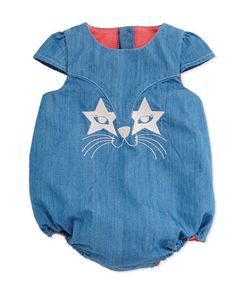 Embroidered Chambray Bubble Playsuit, Denim Blue, Size 3-18 Months by Little Marc Jacobs at Neiman Marcus.