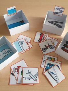 Materiales_TEACCH_Caja_de_clasificacion_Transportes_ARASAAC_1 Preschool Learning Activities, Toddler Activities, Preschool Activities, Kids Schedule, Teaching Aids, Montessori Materials, Early Childhood Education, Kids Education, Crafts For Kids