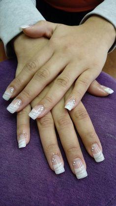 Classy Acrylic Nails, White Acrylic Nails, Pink Nail Art, Best Acrylic Nails, Purple Nails, Nude Nails, Silver Glitter Nails, Rhinestone Nails, Glitter Nail Art