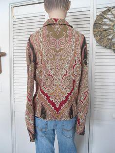 Hippie Blouse Boho Size 10 Womens Hippie Paisley by LandofBridget