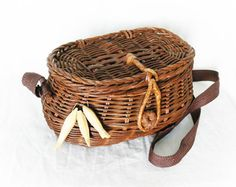 Vintage Decorative Fishing Basket Wicker Creel Cottage Art - PaddywhackKnickKnack, $30.00
